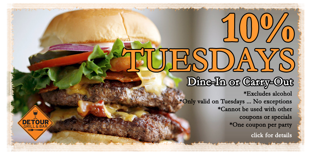 Detour Grill and Bar - Ten Percent Tuesdays