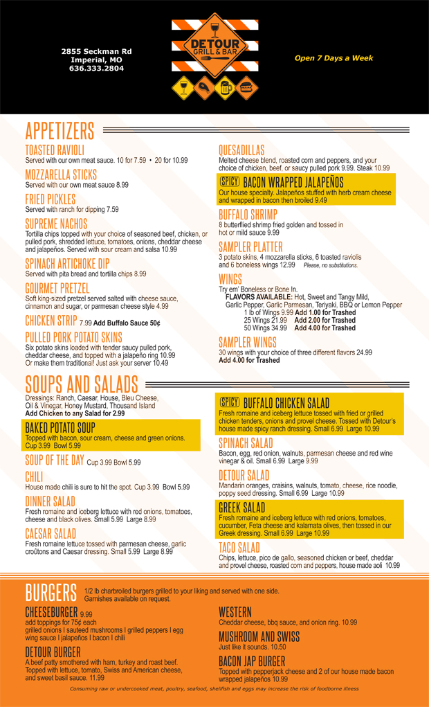 Detour Grill and Bar Menu
