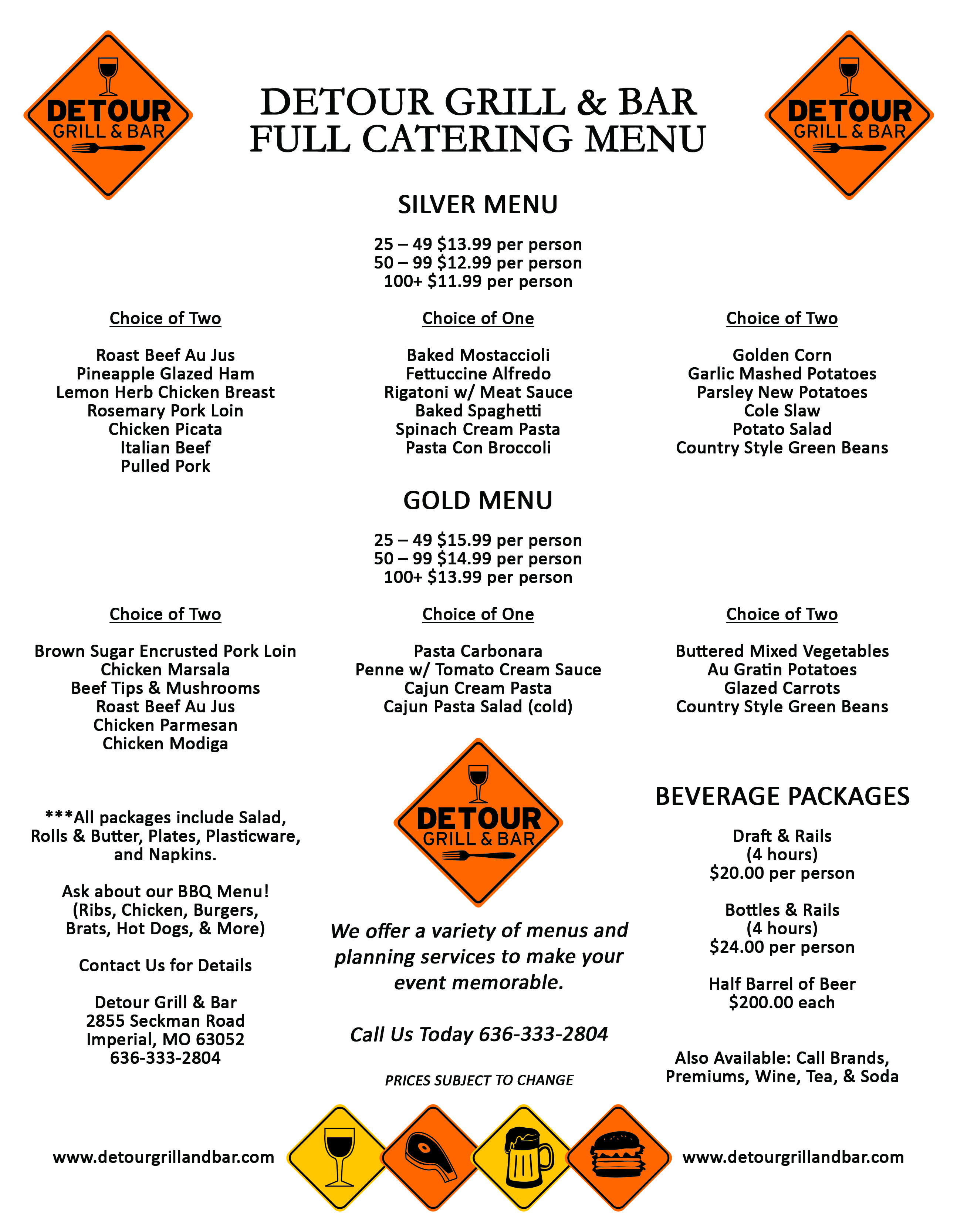 Detour Grill and Bar Full Catering Menu
